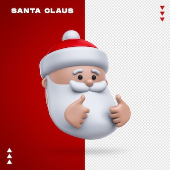Santa claus emoji in 3d rendering