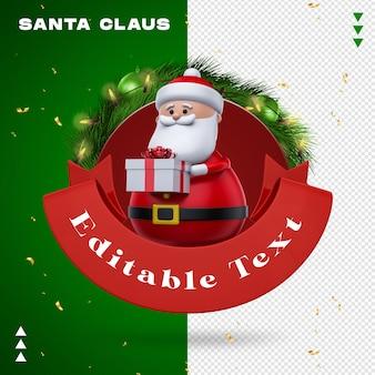 Santa claus garland in 3d rendering