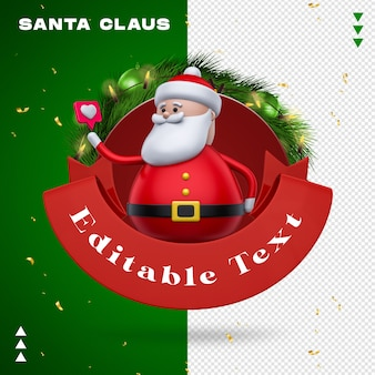 Santa claus garland like in 3d rendering