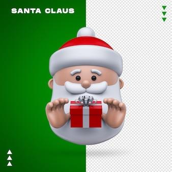 Санта-клаус подарок 3d рендеринга изолированные