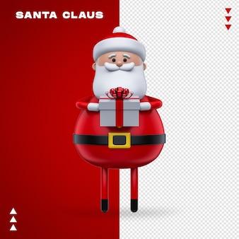 Santa claus gift in 3d rendering