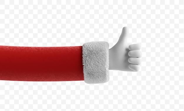 산타 클로스 손은 엄지 손가락을 보여주고 제스처를 좋아합니다.