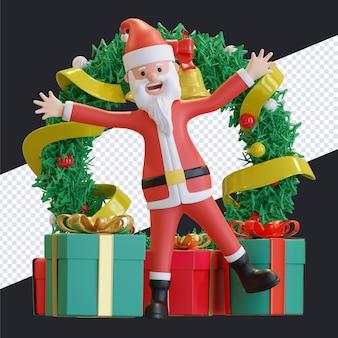 녹색 화 환 배경 3d 렌더링 그림 산타 클로스 행복 춤 크리스마스