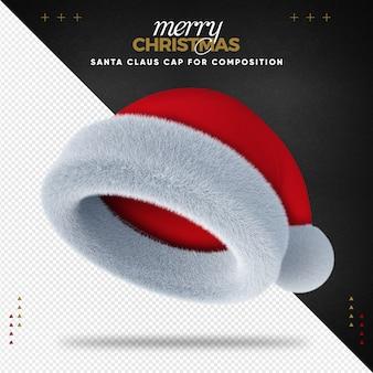 Шапка санта-клауса 3d с рождеством для композиции