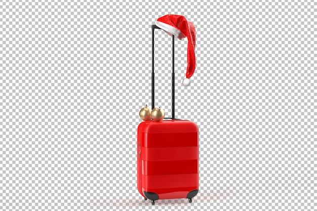 Шляпа санта-клауса на чемодане. рождественские путешествия концепции. изолированные над белым. 3d-рендеринг