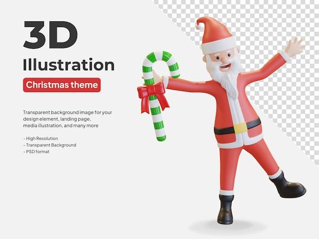 Санта-клаус держит леденец рождество 3d иллюстрация