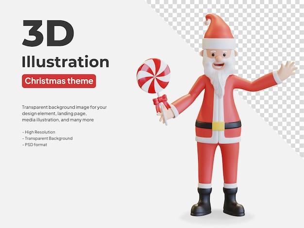 Санта-клаус держит леденец леденец рождество 3d иллюстрация