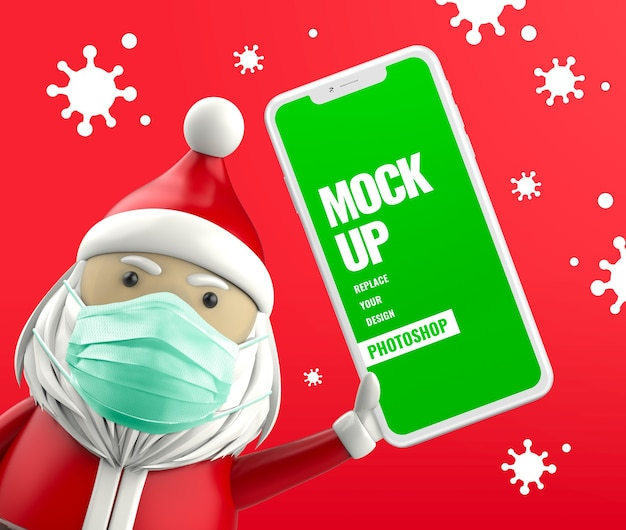 Санта-клаус держит телефон с водяной маской и антивирусным макетом