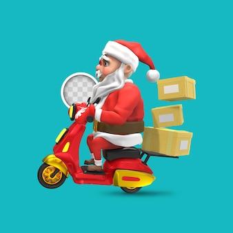 サンタクロースが配達します。 3dレンダリング