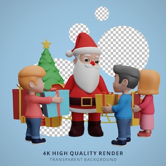 아이들과 함께 산타 클로스 마스코트 3d 캐릭터 그림