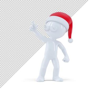 뭔가 가리키는 산타 클로스입니다. 흰색 배경에 고립. 3d 렌더링