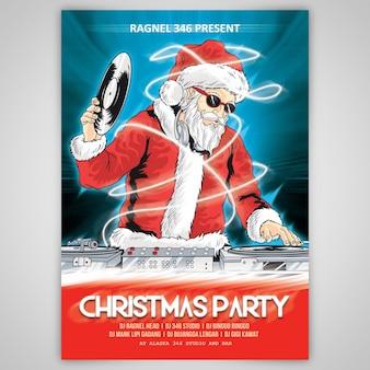Рождественская партия santa claus psd template cartoon