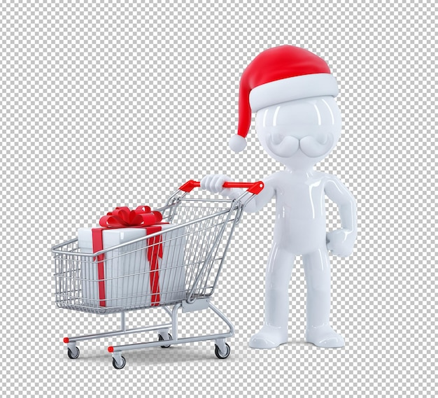 Santa claus pushing a shopping cart with gift box. isolated. 3d rendering