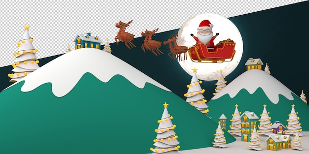 Santa claus in sleigh illustration