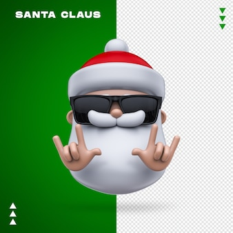 Santa claus sunglasses 3d rendering isolated