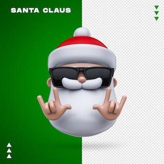 산타 클로스 선글라스 3d 렌더링 절연