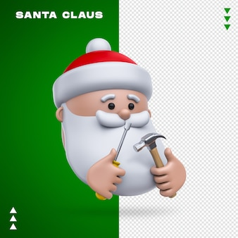 Santa claus tools 3d rendering isolated