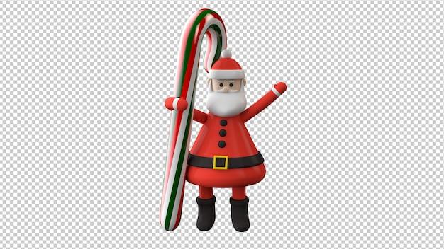 Санта-клаус с рождественскими конфетами изолировал 3d иллюстрацию