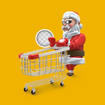 Santa claus with shopping cart. 3d rendering.