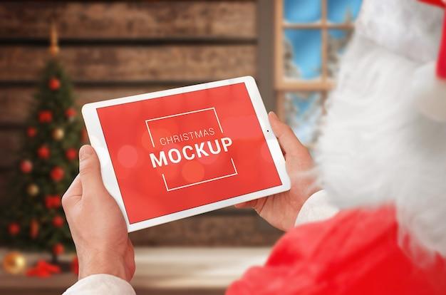 Santa claus with tablet mockup