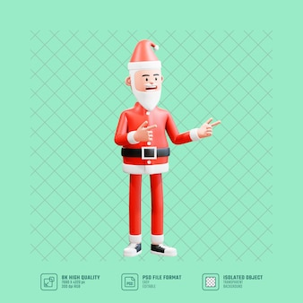 Санта-клаус, указывая на что-то пистолетом. сигналы жестов рукой.