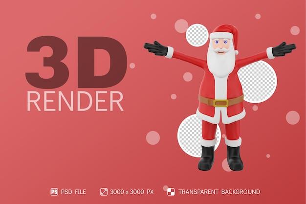 산타 전면보기 3d 캐릭터 격리 된 배경 위로 손을 제기