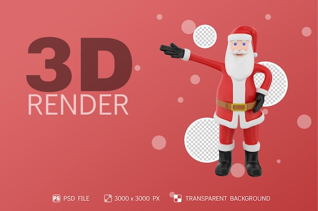 산타 전면보기 한 손으로 3d 캐릭터 격리 된 배경 제기