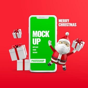 Подарочная коробка санта-клауса с рождеством христовым рекламный макет телефона