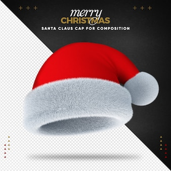 Santa hat 3d merry christmas for composition