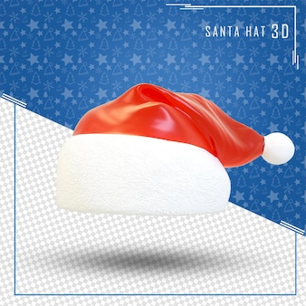 Santa hat 3d merry christmas isolated