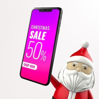 Santa hold phone mockup Premium Psd
