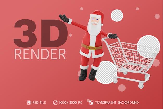 쇼핑 카트 3d 캐릭터 격리 된 배경 산타
