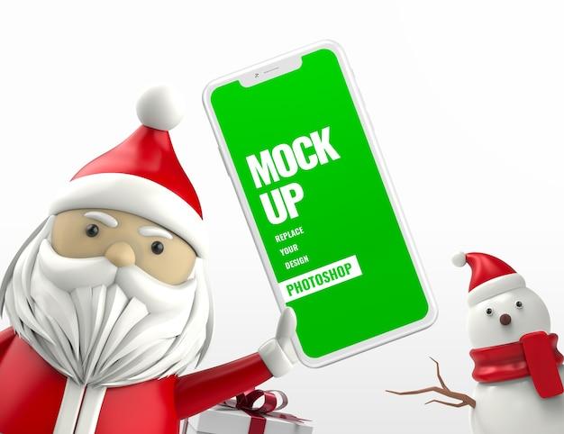 Santa with snowman smartphone mockup advertising