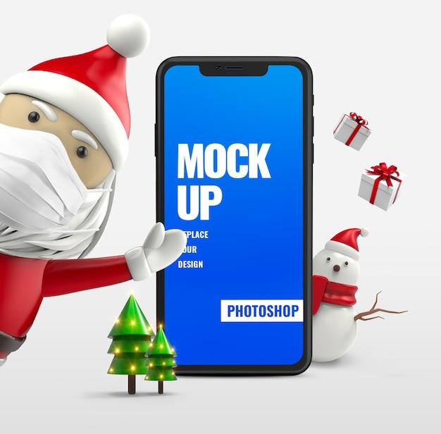 Санта-клаус со снеговиком и смартфон