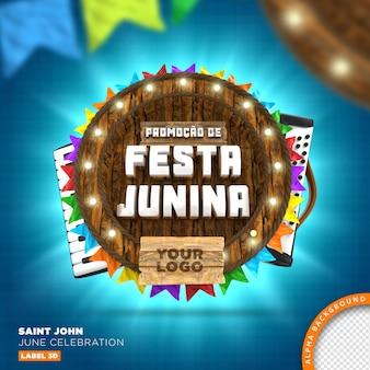 Sao joao festa junina wooden frame, 3d render