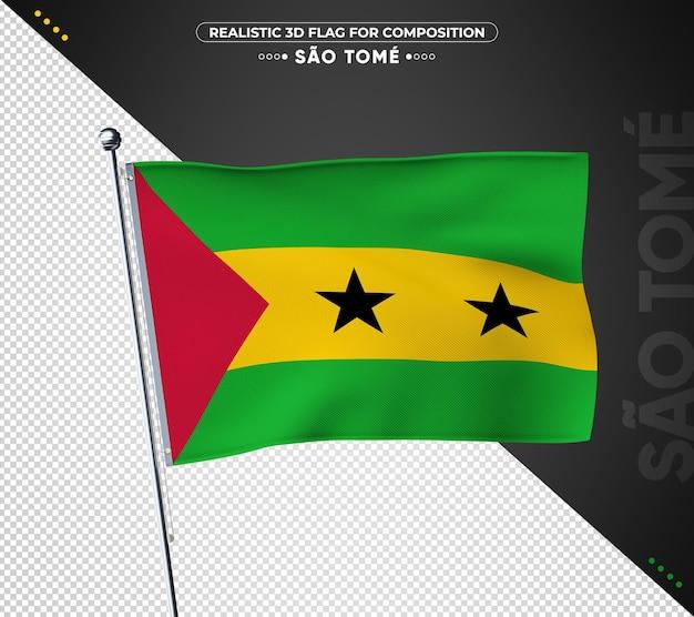 Флаг сан-томе с реалистичным стилем