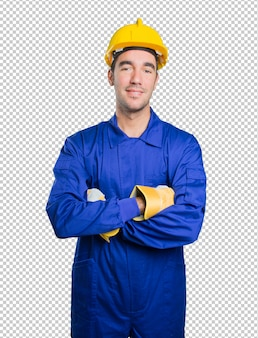 Satisfied workman on white background
