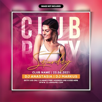 Saturday club party flyer template