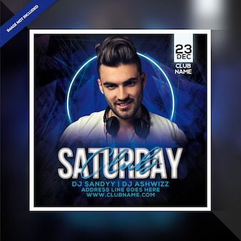 Saturday club party flyer