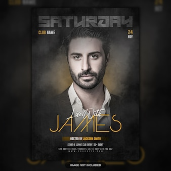 Saturday night music party flyer template