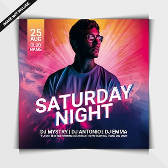 Saturday night party flyer or social media post template