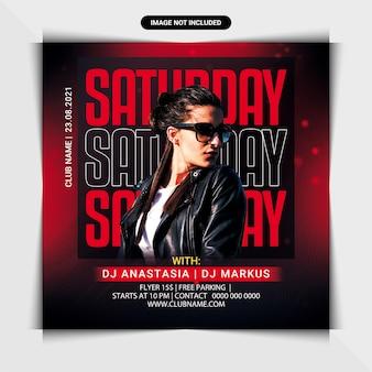 Saturday night party flyer or social media post