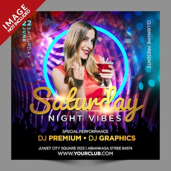 Saturday night vibes psd flyer template