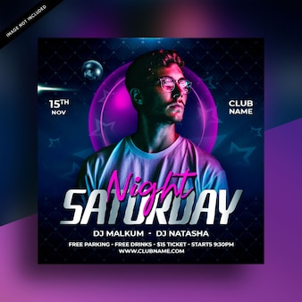 Saturday party flyer template