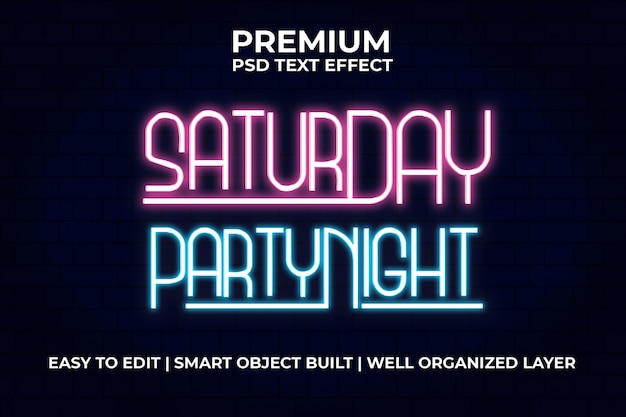 Saturday party night text effect