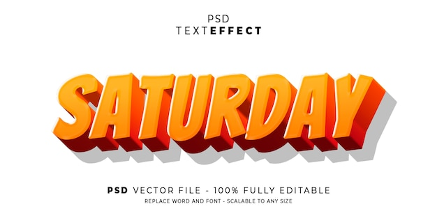 Saturday text and font effect style editable template