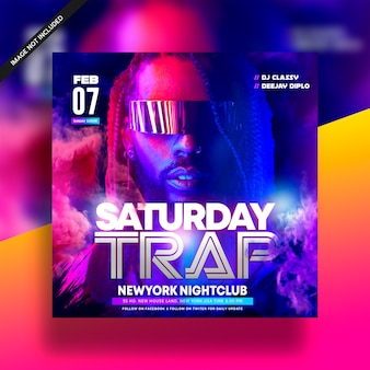 Saturday trap dj music night club flyer