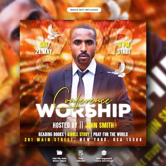 Saturday worship flyer and social media instagram post template
