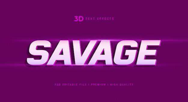 Savage 3d text style effect mockup