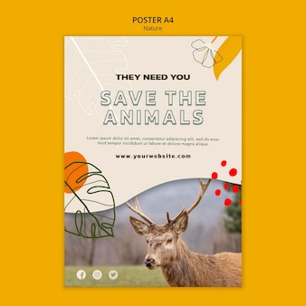 Save animals poster template